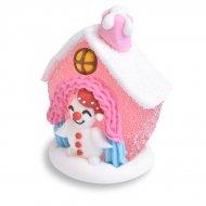 Mini Maison Enneigée 3D Rose (4,5 cm) - Sucre