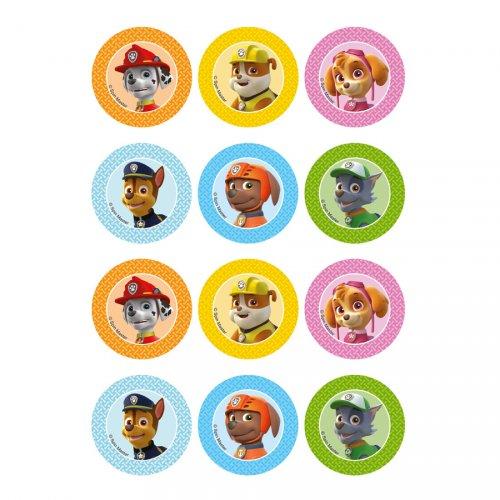 12 Stickers à Biscuits Pat Patrouille (5,5 cm) - Sucre