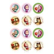 12 Stickers à Biscuits Masha et Michka (5,5 cm) - Sucre
