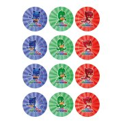 12 Stickers à Biscuits Pyjamasques (5,5 cm) - Sucre