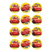 12 Stickers à Biscuits Cars (5,5 cm) - Sucre