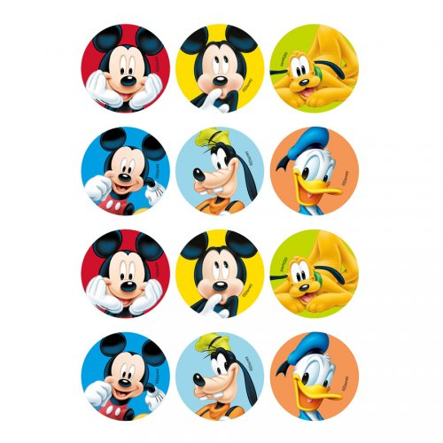 12 Stickers à Biscuits Mickey Club (5,5 cm) - Sucre