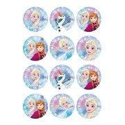 12 Stickers à Biscuits Reine des Neiges (5,5 cm) - Sucre