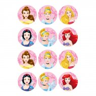 12 Stickers Princesses Disney (5,5 cm) - Sucre