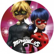 Disque Miraculous Rose Duo  (21 cm) - Sucre