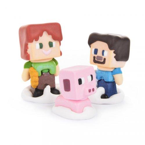 3 Figurines Mine Craft 3D - Sucre