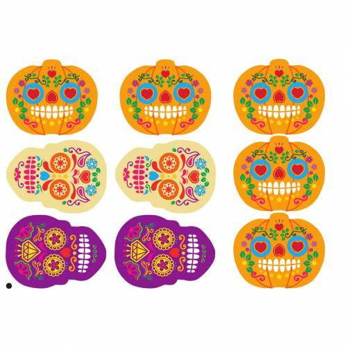 9 Stickers à Biscuits Halloween Calavera - Sucre