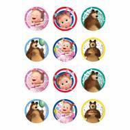 12 Stickers à Biscuits Masha et Michka  (5,8 cm) - Sucre