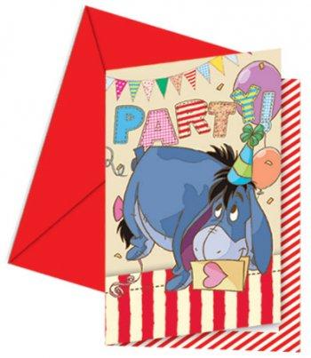 6 Invitations Winnie Party