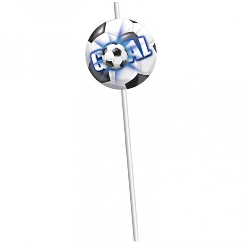 6 pailles Goal Bleu