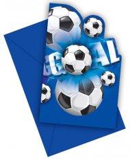 6 Invitations Goal Bleu