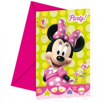 6 Invitations Minnie Flowers