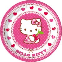 Contient : 1 x 8 Assiettes Hello Kitty Cerise