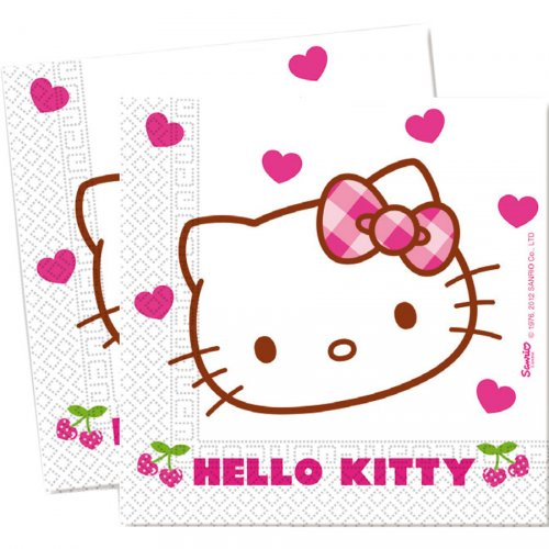 20 Serviettes Hello Kitty Cerise