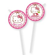 6 Pailles Hello Kitty Cerise