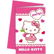 6 Invitations Hello Kitty Cerise