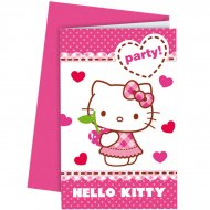 6 Invitations Hello Kitty Cerise