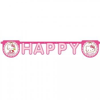 Guirlande lettres Happy Birthday Hello Kitty Cerise
