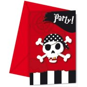 6 Invitations Pirate Terreur