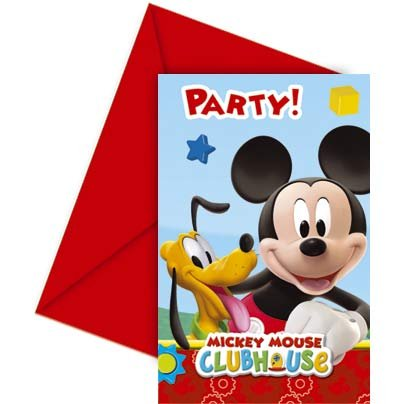 6 Invitations Mickey Party