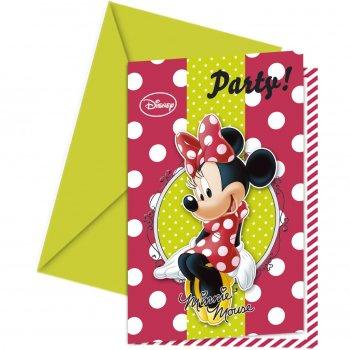 6 Invitations Minnie Fashion