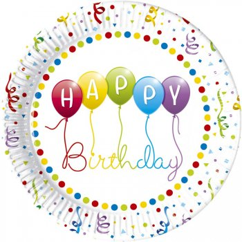 8 Assiettes Happy Birthday Ballons Rainbow