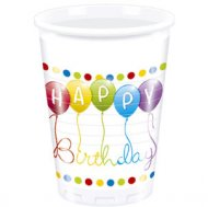 8 Gobelets Happy Birthday Ballons Rainbow