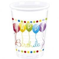 Contient : 1 x 8 Gobelets Happy Birthday Ballons Rainbow