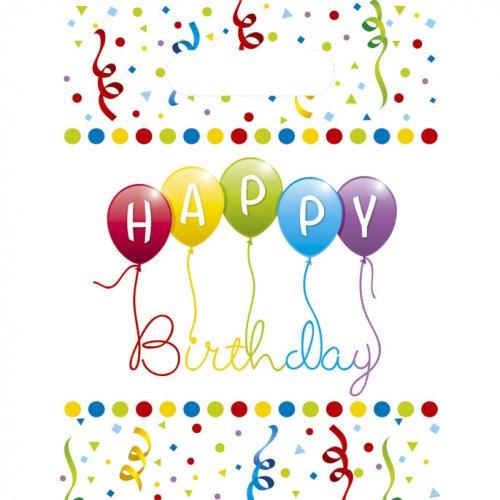 6 Pochettes Cadeaux Happy Birthday Ballons Rainbow
