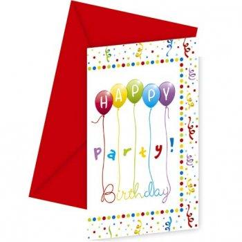 6 Invitations Happy Birthday Ballons Rainbow