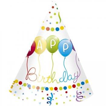 6 Chapeaux Happy Birthday Ballons Rainbow