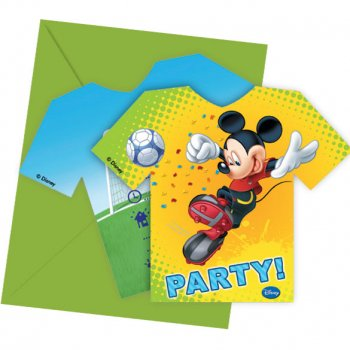 6 Invitations Mickey Goal