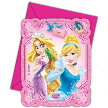 6 Invitations Princesses & Cie