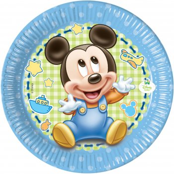 8 Petites assiettes Mickey Baby