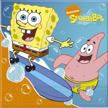 20 Serviettes Bob l Eponge Surf