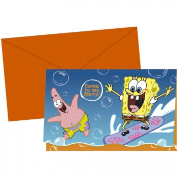 6 Invitations Bob l Eponge Surf
