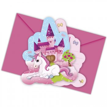 6 Invitations Licorne Enchantée