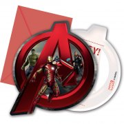 6 Invitations Avengers Médaillon