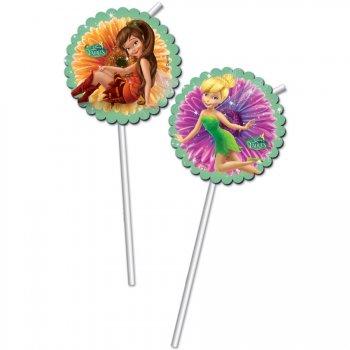 6 Pailles Médaillon Fairies Magic