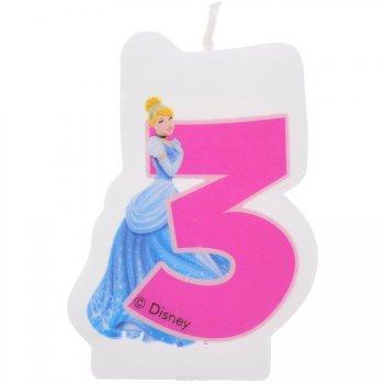 Bougie chiffre 3 Princesses Disney