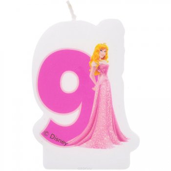 Bougie chiffre 9 Princesses Disney