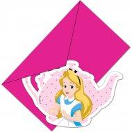 6 Invitations Alice Merveille Rose