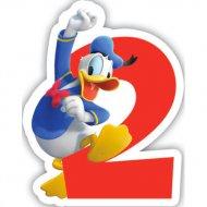 Bougie chiffre 2 Club Mickey - Donald