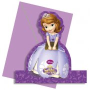 4 Invitations Décoratives Princesse Sofia