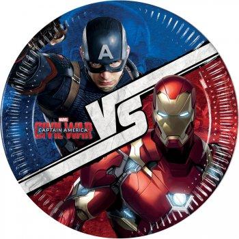 8 Assiettes Captain America Civil War