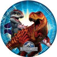Contient : 1 x 8 Assiettes Jurassic World Bleu