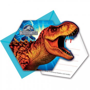 6 Invitations Jurassic World Bleu