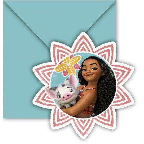 6 Invitations Vaiana et Maui