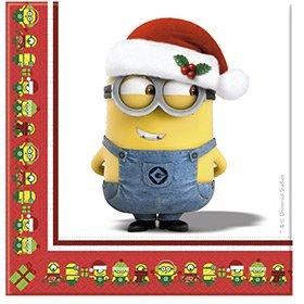 20 Serviettes Minions Christmas