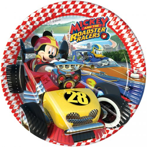 8 Assiettes Mickey et Donald Racing